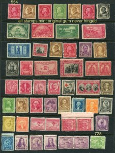 EARLY US MINT #554 // #728 50 Stamps total  (stock page not included)