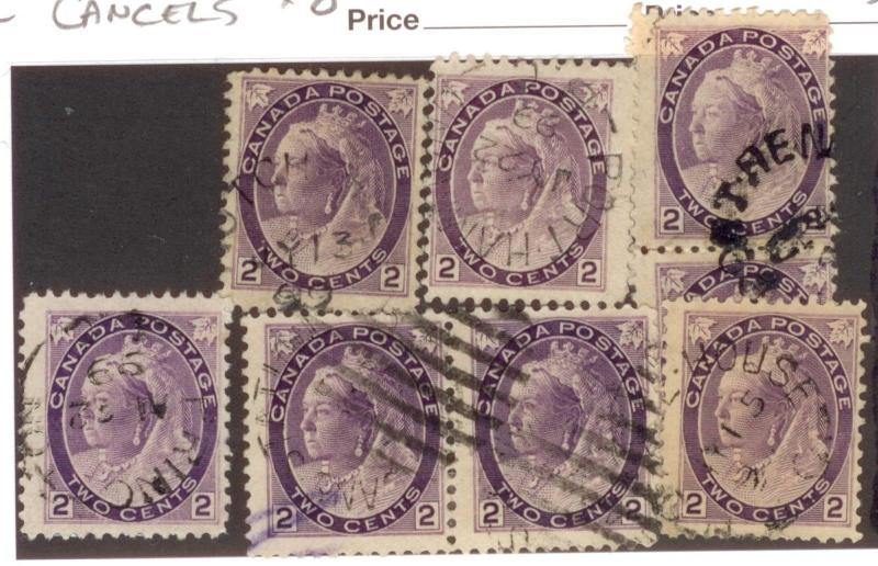 CANADA  BRITISH COLUMBIA CANCELS  X 8   VARIOUS, SUNDAYS ETC...