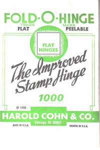 1 UNOPENED PACK OF THE 3RD BEST STAMP HINGES EVER MADE FOLD-O-HINGE FLAT 1000