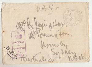 AUSTRALIA, 1916 WWI OAS cover, Army Post Office, S7, France to Hornsby, NSW.