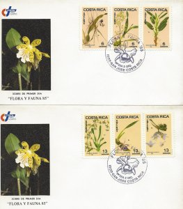 Costa Rica Orchids Sc 334a, 337a Strip of 3 Set of 2 FDC 1985