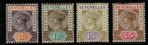 SEYCHELLES SG22/5 1893 NEW VALUES DEFINITIVE SET MTD MINT