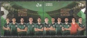 MEXICO 3103a, MEXICAN NATIONAL SOCCER TEAM. SE-TENANT PAIR. MINT, NH. VF.