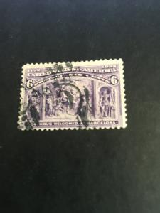 USA 1893 6c Columbus Used Sc. #235 Used Fine Cat. $25. About 125 Years Old.