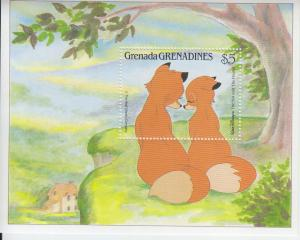 1987 Grenada Grenadines Disney Fox and the Hound SS (Scott 993) MNH