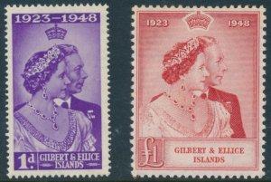 GILBERT AND ELLICE Islands KGVI Scott 54-55 SG57-58 Lightly Hinged