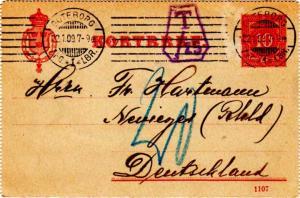 Sweden 10o Numeral Letter Card No Selvedge 1909 Goteborg, Afg-1-Lbr. to Nevig...