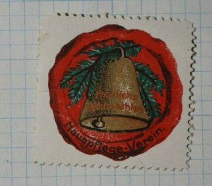Hauspflege-verein Gold Christmas Bell Charity Seals Stamp