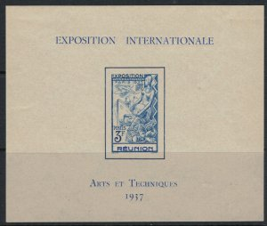 Reunion #173*  CV $8.50  French Int'l Exhibition Souvenir sheet