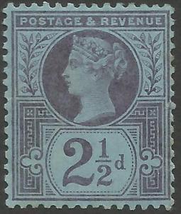 1887 sg201 21/2d purple/blue unmounted mint (gum crease)