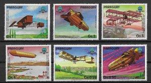 Paraguay MNH Set Of 6 Aircraft Aviation