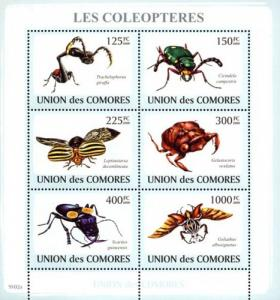 COMORES 2009 SHEET BEETLES LES COLEOPTERES SCARABEE LADY BUGS INSECTS cm9102a