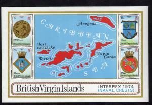 VIRGIN ISLANDS #269a  1974 INTERPEX STAMP EXIBITION        MINT VF NH O.G S/S  c