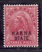 India-Nabha State-Sc#26- id5-unused hinged 3 pies Queen Victoria-1900-
