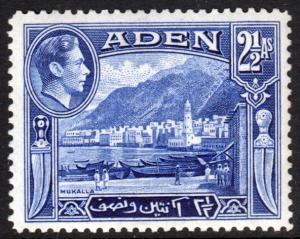 Aden KGVI 1939 2.5a Deep Ultramarine SG21 Mint Hinged
