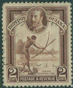 British Guiana 1934 SG289 2c brown KGV Indian Shooting Fish FU