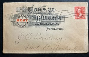 1899 Minneapolis MD USA HH King Millers Advertising Cover To Stafford CT