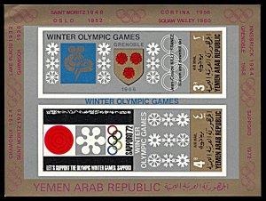 Yemen AR Michel Block 82, MNH, Winter Olympic Cities souvenir sheet, minor fault