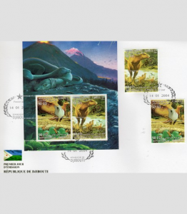 DJIBOUTI 2004 Dinosaurs 1 set + 1 Sheet Perforated in official FDC