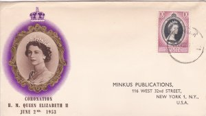 Malaya - Perlis # 28, Queen Elizabeth's Coronation First Day Cover