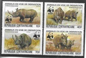 1983   CENTRAL AFRICA  -  SG.  971 / 674  -  BLACK RHINO  -  WWF  -  MNH