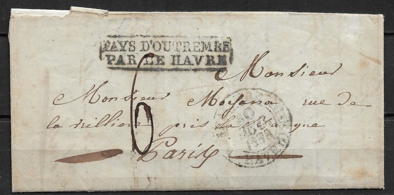 1838 French Polynesia Postmark Error on a stampless cover