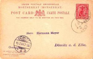 Montserrat 1d Symbol of the Colony Attached Reply Postal Card 1904 Montserrat...