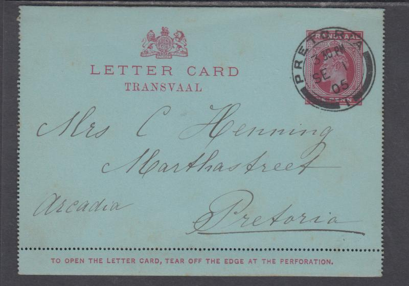 Transvaal H&G A1 used 1905 1p KEVII Letter Card to Pretoria, fresh & VF