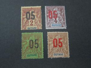 French Guiana 1912 Sc 87-89,91 MH