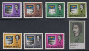 Northern Rhodesia, SG 75c-83c, MLH Parting in Hair COMPLETE set