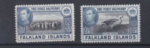 FALKLAND ISLANDS  1938 - 50 SG  151 - 152 2 X 2/1/2D  VALUES MH