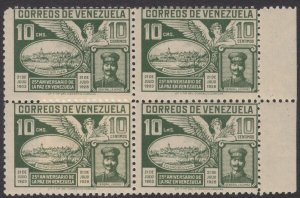 Venezuela 1928 10c Green LMS for CMS variety. MNH unmounted block