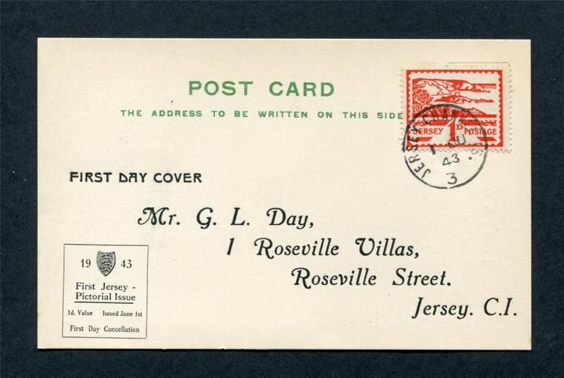JERSEY WARTIME 1d VIEWS DISPLAY FIRST DAY POSTCARD