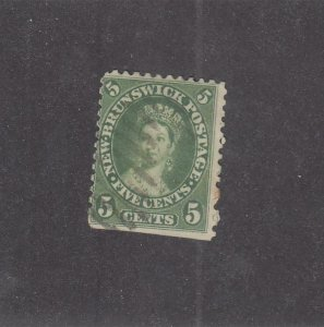 NEW BRUNSWICK (MK3939) # 8 F-USED 5cts VICTORIA /GRID CANCEL /GREEN /CENTS ISSUE