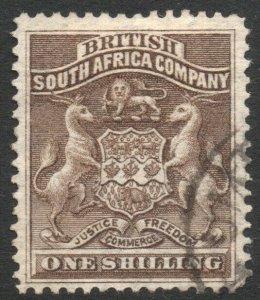 RHODESIA-1892-93 1/- Grey-Brown Sg 4 FINE USED V37845