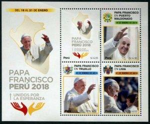 HERRICKSTAMP NEW ISSUES PERU Sc.# 1934 Pope Francis Visit 2018 Sheetlet