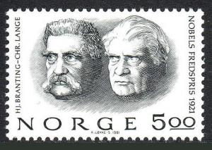 Norway 797, MNH. 1921 Nobel Peace Prize Winners: C.L. Lange and H.Branting,1981