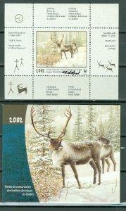 QUEBEC  2002  WILDLIFE CARIBOU...#QW15A..SHEET AND FOLDER...MNH...$75.00