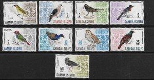 SAMOA  265-273 MINT HINGED  BIRDS SHORT SET   1967