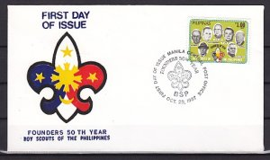 Philippines, Scott cat. 1890. Scout Founder`s Day issue. First day cover. ^