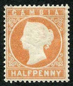 Gambia SG11B 1/2d Dull Orange Wmk Crown CC Upright M/M (hinge remainder) Cat 20