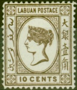Labuan 1892 10c Brown SG43 Fine & Fresh Mtd Mint