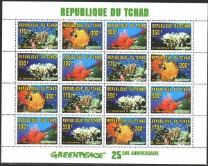Chad. 1996. Small sheet 1365A-68A. Coral. MNH.