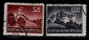 Croatia Scott 54-55 Used Castle stamp set