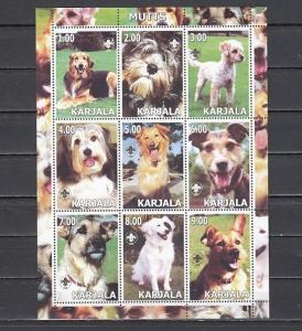 Karjala  2000 Russian Local. Mutts sheet of 9.  Scout logo. *