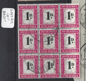 SOUTH AFRICA  (P0209B)  POSTAGE DUE  1D   SG D39  BL OF 9    VFU