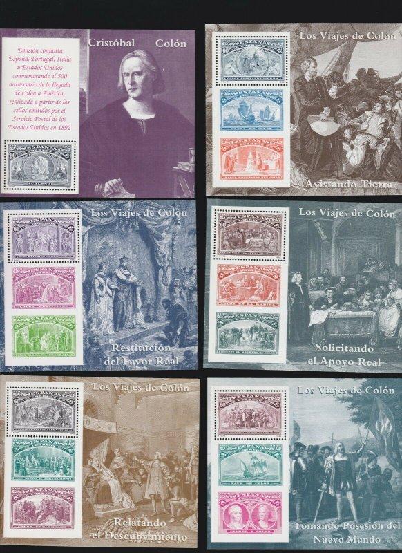 Spain 2677-82,Portugal 1918-23,Italy 1883-88 Columbus Souvenir Sheets Complete