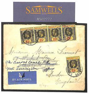 MS2772 1937 MAURITIUS FFC France *Roland Garos* Voyage de Retour Cachet Cover