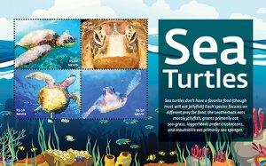 2021/05 - NEVIS - SEA TURTLES             4V  complet set    MNH ** T