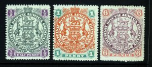 RHODESIA 1897 Arms Group Scroll Between Springbok's Legs SG 66, 67 & 71 MINT